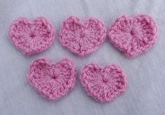 Pink crochet applique 5 small crochet by FlowerfolksCreations