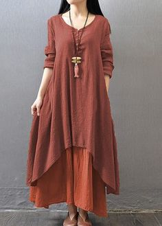 Wine Red Long Sleeve Tiered Maxi Dress