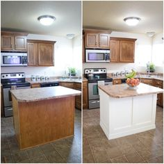 Older Home Remodel Add Molding to a Builder Grade Kitchen Island: An Easy How-To Love Remodeled.Older Home Remodel Add Molding to a Builder Grade Kitchen Island: An Easy How-To Love Remodeled Kitchen Island Makeover, Diy Kitchen Island, Old Kitchen, Updated Kitchen, Rustic Kitchen, Kitchen Ideas, Kitchen Makeovers, Kitchen Layout, Eclectic Kitchen