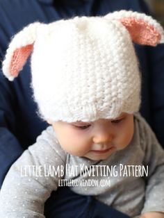 40c7cbd2b46 Free Little Lamb Hat Knitting Pattern for babies!