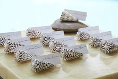 Shells make perfect table card holders for a #beach #wedding.
