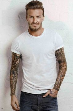 Man crush Monday: David Beckham ink, hair, style, smile, scruff.