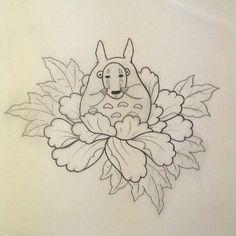 Totoro trying to be no face #totoro #noface #studioghiblitattoo #studioghibli #Japanese #cute #flower #tattooartist #tattoodesign #tattoo #cheltenham
