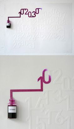 Brilliant calendar idea! The ink takes 24hours to fill each number.
