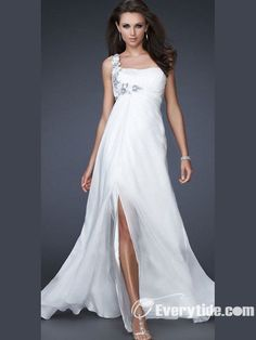 prom dresses 2014 high low 2014 style a-line one shoulder hand-made flower sleeveless floor-length chiffon white prom dress/evening dress Prom Dresses For Sale, Formal Dresses, Wedding Dresses, Dress Sale, Dresses Dresses, Long Dresses, Dresses 2013, Bride Dresses, Chiffon Dresses