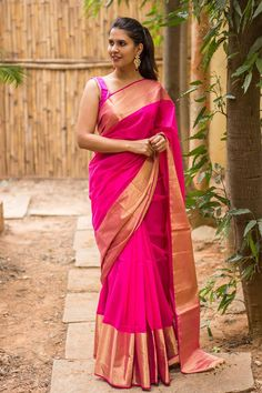 Apr 2020 - House Of Blouse Pink Pure Chanderi Cotton Silk Saree With Zari Border South Silk Sarees, Blue Silk Saree, Pure Silk Sarees, Blouse For Silk Saree, South Indian Sarees, Sleeveless Blouse, Saris, Mode Bollywood, Bandeau Outfit