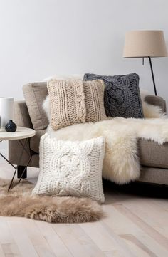 Inspiring Big Couch Pillows Bedding Ideas Gorgeous How Big Are Your Pillows Bossy Color Annie Elliott Interior Design Multifunctional Large Decorative Pillows Big Throw Pillows Oversized Knit Decorative All About Sofa Design and Decorating Ideas Oversized Throw Pillows, Sofa Throw Pillows, Decorative Throw Pillows, Cushions, Accent Pillows, Brown Couch, Beige Couch, Black Pillows, Knit Pillow