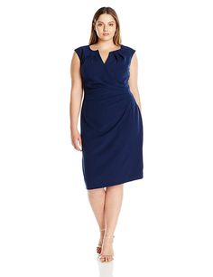 Adrianna Papell Women's Plus-Size Plus Pleated Side-Wrap Sheath * Awesome product. Click the image : Plus size dresses