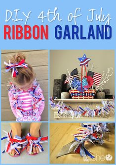 DIY of July Ribbon Garland Make this straightforward and versatile ribbon garland in time for the of July! Beneath, I cowl 4 ornamental methods to make use of ribbons t Patriotic Party, Patriotic Crafts, July Crafts, Holiday Crafts, Holiday Fun, Festive, Art Crafts, Holiday Decor, Fourth Of July Decor