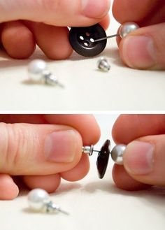 Use a button to keep pairs of earrings together. | 21 Ways To Make Your Broken & Boring Jewelry Sparkle Again