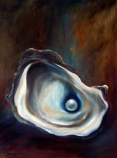 "PRINT Oyster Art Oil Painting Sea Food Beach Ocean Pearl  Still Life ""Hidden Treasure"" / Mary Sparrow by HangingtheMoonShelby on Etsy #OilPaintingStillLife"