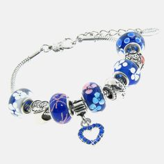 Silver Plated Blue Murano Style Charm Bracelet - $12.99. https://www.tanga.com/deals/d8e1b673194b/silver-plated-blue-murano-style-charm-bracelet