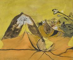 Graham Sutherland (British, 1903-1980), Rocks and hills, 1944. Ink, charcoal, pastel, watercolour and gouache on paper, 29 x 36.5 cm.