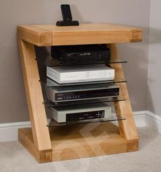 Z hi-fi cabinet DVD console 4 shelf storage unit solid oak designer furniture in Home, Furniture & DIY, Furniture, TV & Entertainment Stands | eBay!
