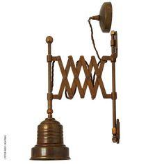 Deliko Scissor Arm Wall Light Antique Brass by Mullan @peterreidlighting