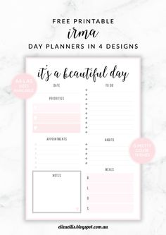 Free Printable Irma Daily Planners by Eliza Ellis - available in 6 colors.                                                                                                                                                                                 Más