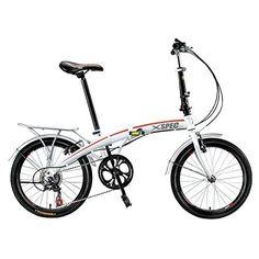 "Xspec 20"" 7 Speed City Folding Compact Bike Bicycle Urban Commuter Shimano White - http://www.bicyclestoredirect.com/xspec-20-7-speed-city-folding-compact-bike-bicycle-urban-commuter-shimano-white/"