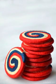 Patriotic Treats for Your Fourth of July Celebration –– Red, white and blue pinwheel cookies!