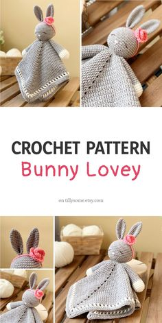 Adorable Sleepy Bunny Lovey is a plush toy and security blan Crochet Lovey Free Pattern, Crochet Blanket Patterns, Free Crochet, Crochet Baby Toys, Beginner Crochet, Crochet Animals, Easy Crochet, Crochet Security Blanket, Lovey Blanket