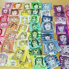 Love all these little faces ready for a whole school display. #portraitart