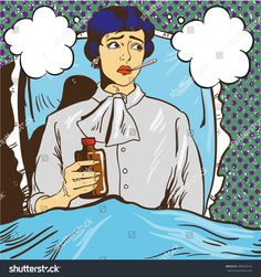 Sick woman with fever lie down on a bed in hospital room. Girl with thermometer in her mouth. Vector illustration in pop art comic style.