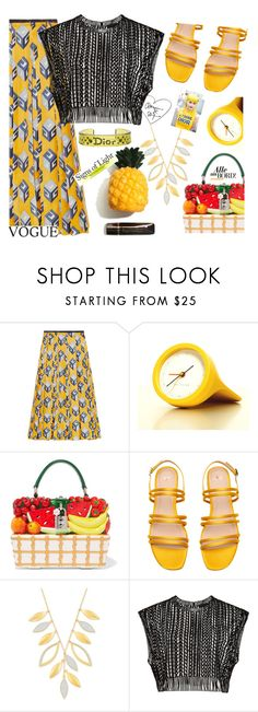"""""""Summer fruit 🍓🍇🍉"""" by ellenfischerbeauty ❤ liked on Polyvore featuring Gucci, aNYthing, Dolce&Gabbana, Swarovski, Christian Dior, HowToWear, waystowear and summer2017"""