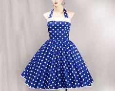 1950s Rockabilly Vintage Dress Halterneck Royal Blue / Med White Polka Dot (D01-CM08). $69.99, via Etsy.