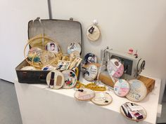 As Textiles; collaborative textiles installation, stitch, applique, collage, mix media, buttons, lace, thread, vintage papers, drawing, sketching- embroidery hoop art. A Level Textiles, Embroidery Hoop Art, Vintage Paper, Sketching, Mixed Media, Applique, Collage, Stitch, Drawings