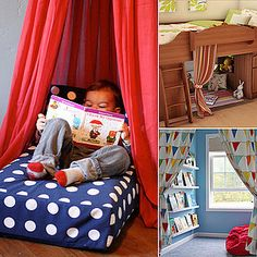 Reading Nooks For Kids: Encourage your child's budding reading skills by creating a cozy nook that turns a boring corner into something really special. Settling into his or her very own corner next to a cool bookshelf with a good read is one way for little ones to explore the wonders of reading on their own.