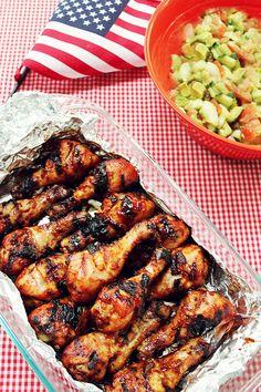 4th of July Menu - 50 Stars BBQ Chicken, Cucumber avocado salad, lemon blueberry bars