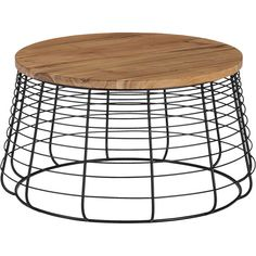 wood and metal round coffee table