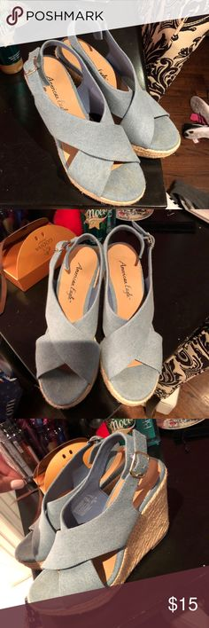 American eagle blue wedges Worn once. Great condition. American Eagle By Payless Shoes Wedges
