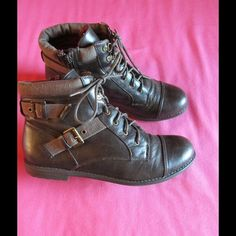 G by Guess Brown Ankle Booties W/ Straps & Buckles Beautiful pair of booties. Brown color. Size 10.0 NWOT . Side zipper - Lace Up.   Save on bundles G by Guess Shoes Ankle Boots & Booties