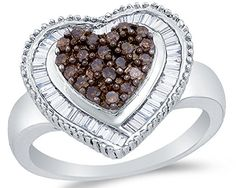 925 Sterling Silver Chocolate Brown & White Round & Baguette Diamond Engagement Ring - Channel Set Heart Center Setting Shape (.78 cttw.) - http://www.loveuniquerings.com/heart-rings/925-sterling-silver-chocolate-brown-white-round-baguette-diamond-engagement-ring-channel-set-heart-center-setting-shape-78-cttw/