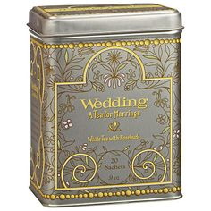 Harney & Sons Wedding Tea. Vanilla, lemon and rose in white tea. Defly not the same as the Royal Wedding tea. This tea has hint of lemon rather than nutty as the Royal.