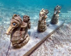 Underwater Sculpture Garden, Great Stirrup Cay Bahamas Cruise, Nassau Bahamas, Cruise Port, Sculpture Garden, Lion Sculpture, Great Stirrup Cay Bahamas, Underwater Sculpture, Caribbean, Statue