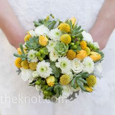 without the cactus looking stuff. White and yellow bouquet of yellow craspedia, white pom-poms and succulents // mark davidson photography // Allburn Florists // http://www.theknot.com/weddings/album/a-vintage-wedding-in-fairview-pa-85719