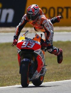 Marquez showing off (or falling off. Hard to tell sometimes! )