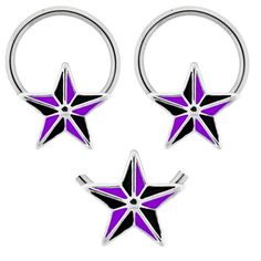 Pair of Purple & black nautical tattoo star Hypoallergenic 316L Stainless Steel Surgical Steel Captive bead Ring lip, belly, nipple, cartilage, tragus, earring body Jewelry piercing hoop - 14 gauge, 14g playful piercings http://www.amazon.com/dp/B00KMNH84Q/ref=cm_sw_r_pi_dp_M5TEub03S0MDC