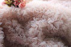 1 yard nude pink  3D ruffle fabric for costume, wedding dress fabric, soft photography backdrop, soft and smooth prop, wedding prop