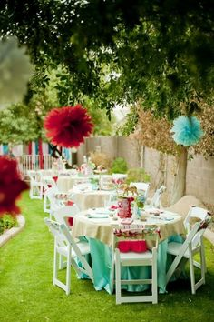 party deko ideen deko aufhängen tischdeko ideen bäume dekorieren