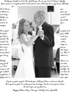 I made this for my Dad for Father's Day! I know I'm early but saw the idea on pinterest for the same thing but with wedding picture and first dance with husband so I figured I could do the same with my Dad! :) I used a picture from our wedding and the lyrics to the song my Daddy and I danced to. It's Mama's Song by Carrie Underwood but my friend Cynthia sang it live so I changed the lyrics a bit! I'm going to print it off and put into an 8x10 frame!