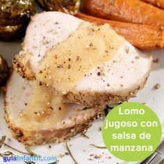 Lomo de cerdo con salsa de manazana, ¡una receta sana y jugosa! http://www.guiainfantil.com/navidad/recetas/lomo.htm