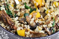 Brown & Wild Rice Dish with Butternut Squash, Spinach and Figs — Punchfork