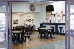 Come read about this church coffee shop makeover that creates a welcoming area for all who walk through the doors. Church Lobby, Church Foyer, Church Office, Church Interior Design, Church Design, Youth Group Rooms, Youth Ministry, Veranda Cafe, Church Welcome Center