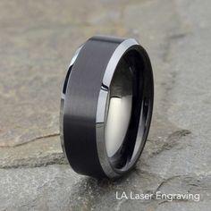 Brushed Tungsten Wedding Band Mens Wedding Ring Polished
