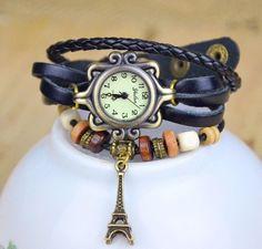 Leather Bracelet Watch Eifel Tower Pendant