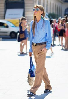 Camel and light blue are so complimentary when worn together