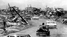 Darwin, 1974. Cyclone Tracey reached the Northern Territory city of Darwin in the late afternoon on Christmas Eve. Over the next six hours, terrified residents were subjected to heavy rain & screaming winds over 200km/h (124mph). The officially recorded windspeed was 217km/h (134mph), but that's only because the anemometer broke – the Bureau of Meteorology estimates the gusts reached well over 250km/h (155mph).