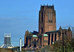 THE TWO LIVERPOOL CATHEDRALS. The new one at the rear is the RC Cathedral whilst the old one is Anglican